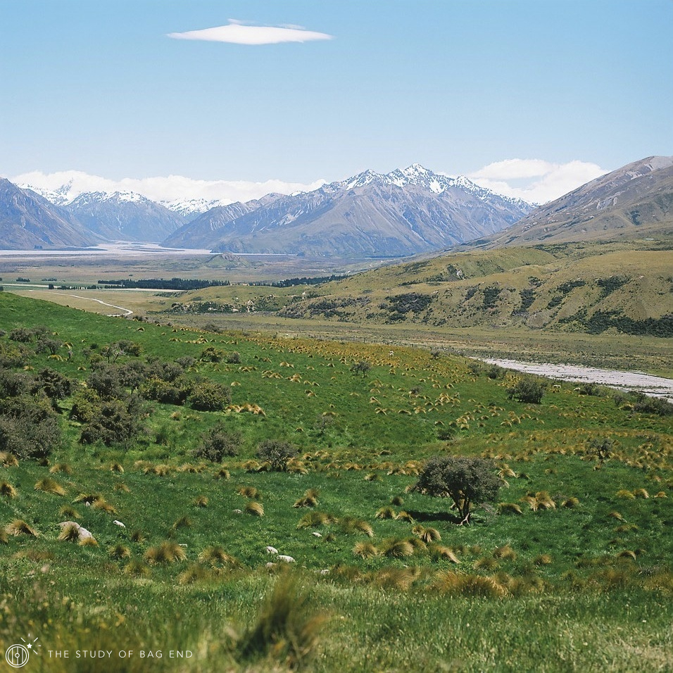 the wide view of Edoras and Mt. Cook that I thought it