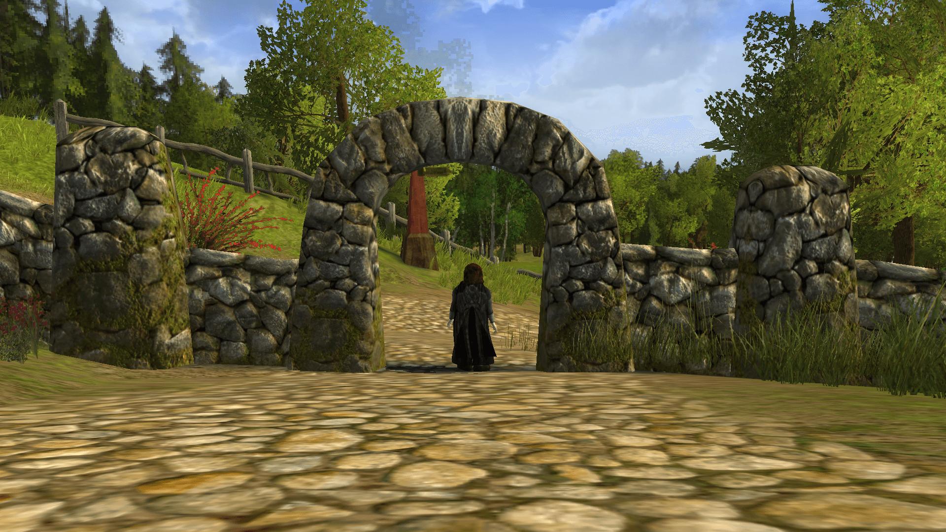 お山の小道の下の門