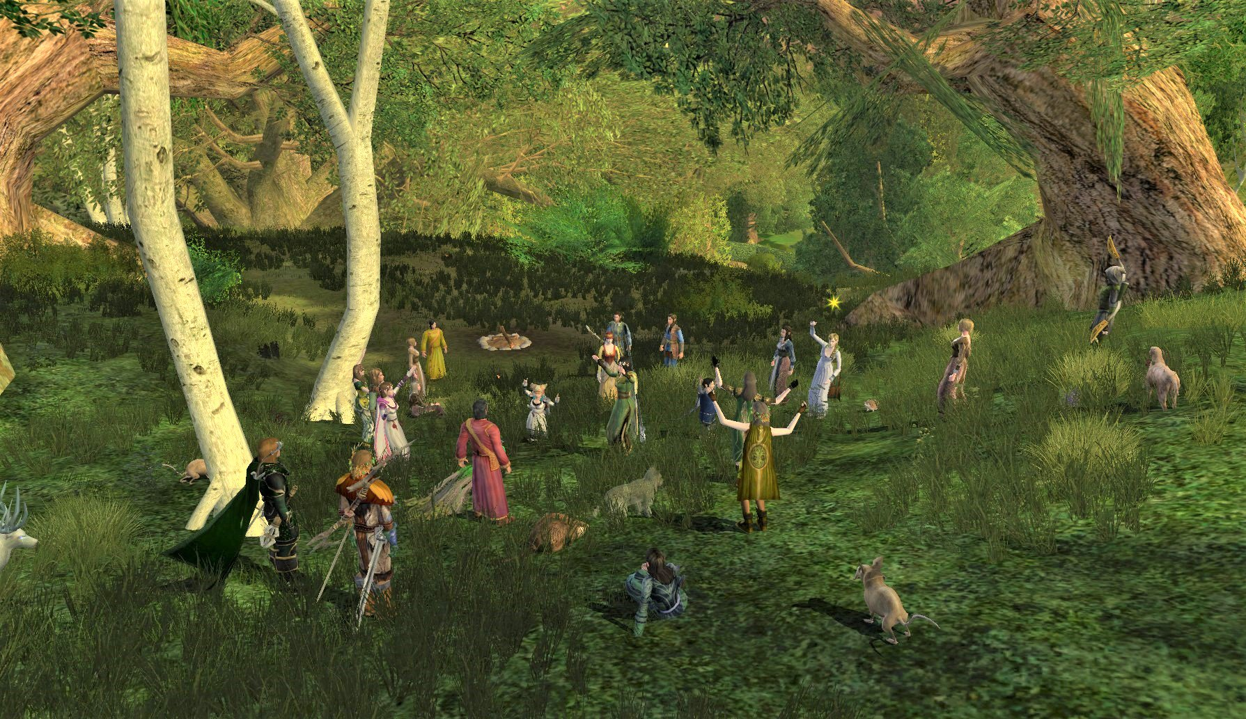 LotROゲーム画面:森合村のエルフの野営地
