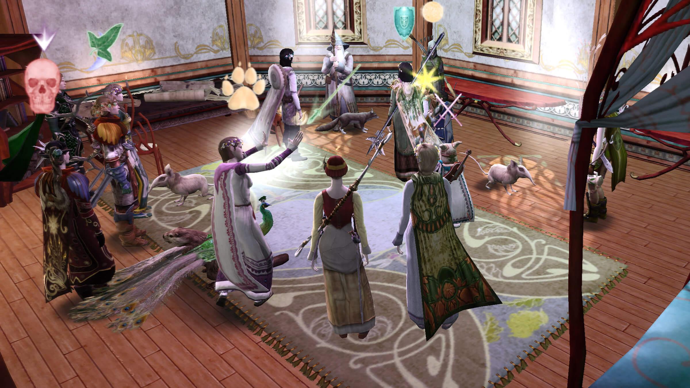 ゲーム画面:ビルボの部屋でフロドとガンダルフにも乾杯