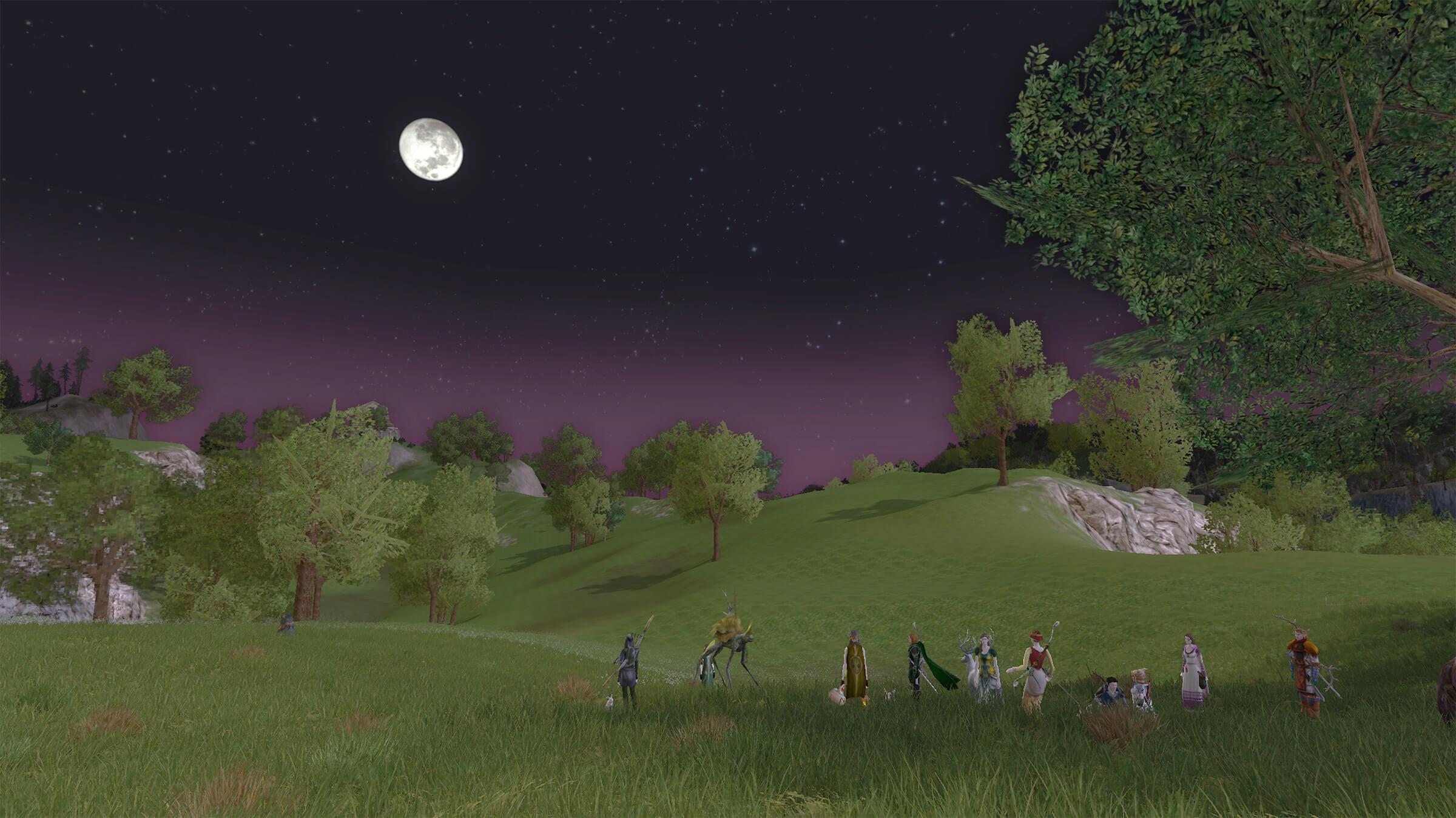 LotROゲーム画面:ブリー郷の夜